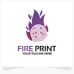 Fire Print Logo Template Design Vector Inspiration. Icon Design