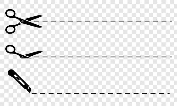 Scissors. Set of black scissors with cut lines