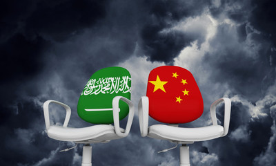 Saudi Arabia and China business chairs. International relationship concept. 3D Rendering