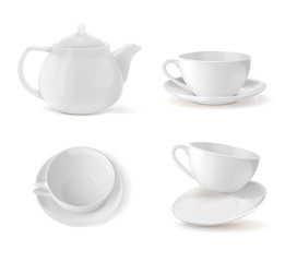 Set cups and teapot in white, different positions. Vector illustration on white background.
