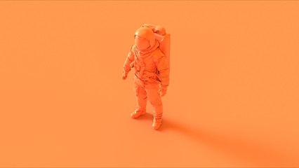 Orange Spaceman Astronaut Cosmonaut 3d illustration 3d render Wall mural