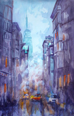 Watercolor and pastel painting of street view of New York, yellow taxi, modern Artwork, American city, illustration New York