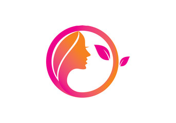Skincare, women face logo vector