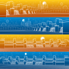 City infrastructure industrial illustration panorama set. Hydro power plant. River Dam. Energy station. Water power. Urban scene. White lines on blue and orange background. Vector design art