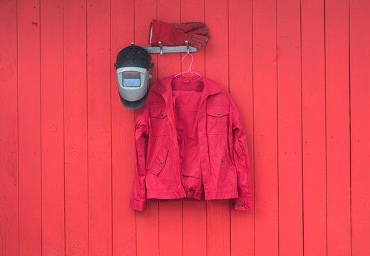 red welder work clothes