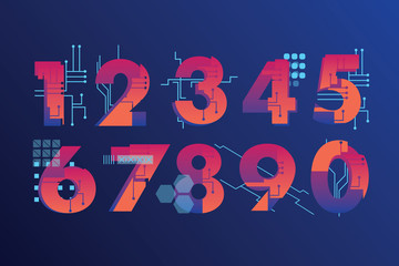 Futuristic, illustrated numbers in industrial style with vibrant gradient colors