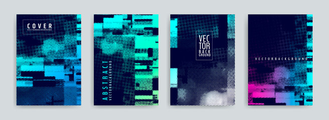 Set of abstract background cover designs. Screen error effect. Failure. Vector graphics. Abstract background strokes. Halftone effect