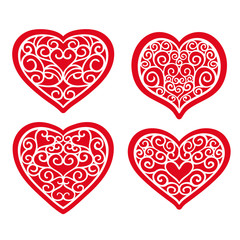 Set hand drawn hearts on white background