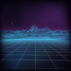 3d futuristic vector illustration. Wireframe futuristic landscape. 80s Retro Sci-Fi Abstract background.