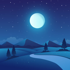 Fototapeta Vector illustration of night time nature landscape in the Countryside with a Full moon and a Stary sky obraz