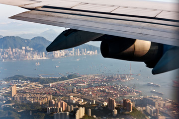 Aerial view of a city from an airplane.