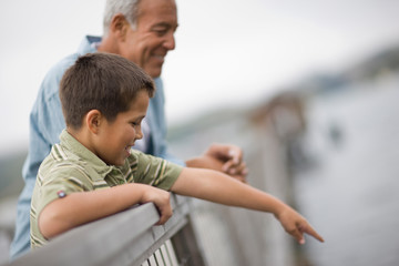 Boy pointing over a railing while standing next to his father on a wharf.