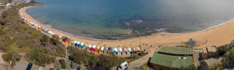 Brighton Beach's Beach Boxes, aerial panoramic view in winter