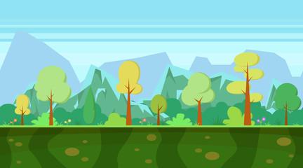 Fond de hotte en verre imprimé Piscine Background for games apps. Cartoon nature landscape with forest and mountains.