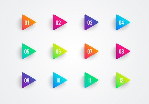 Vector Arrow Bullet Point Triangle Flags Colorful Gradient 3d Markers With Number 1 To 12