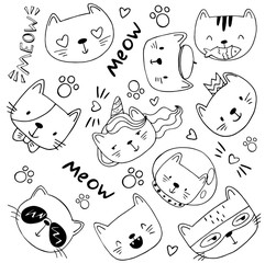 black and white cartoon cats with lettering hand drawn.
