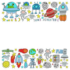 Vector set of space elements icons in doodle style. Painted, colorful, pictures on a piece of paper on white background.
