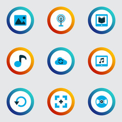 Media icons colored set with learning, replay, broadcast and other e-reader  elements. Isolated vector illustration media icons.