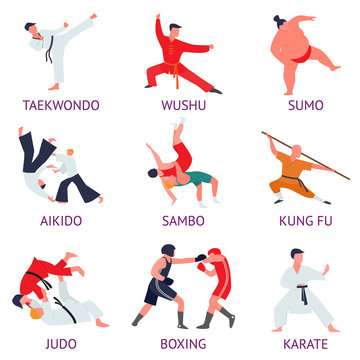 Set of fighters engaged in martial arts. Fighters train martial arts exercises.