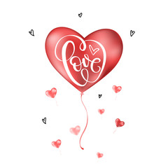 Valentines day card with Love lettering