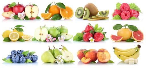Wall Mural - Früchte Obst Collage Apfel Orange Banane Orangen Blaubeeren Erdbeere Äpfel Freisteller freigestellt isoliert