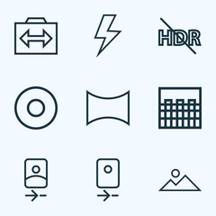 Picture icons line style set with chessboard, mountain, angle and other switch cam
