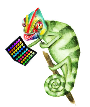 Green chameleon does makeup. Hand drawn watercolor