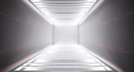 White neon Metal construction, stairs, white neon light. Light abstract background, white, gray color. Glare of light rays. 3D Rendering