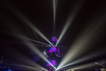 Projectors and lasers show of the tower in Plovdiv, Bulgaria