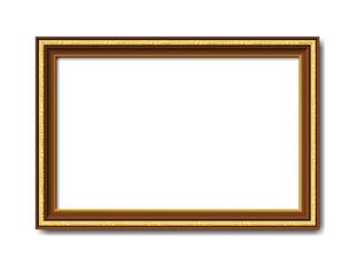 Goldener brauner Vektor holz Bilderrahmen mit Reliefapplikationen isoliert auf weißem Hintergrund