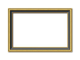 Goldener schwarzer Vektor holz Bilderrahmen mit Reliefapplikationen isoliert auf weißem Hintergrund