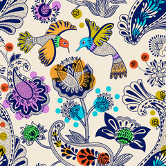 Foto op Aluminium Botanisch Stylized flowers and birds seamless pattern. Colorful decorative nature wallpaper. Cute floral background. Drawn flowers and plants backdrop. Design for textile, fabric, wrapping paper, cover, carpet