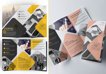 Trifold Brochure Layout with Yellow and Pink Accents