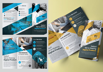 Trifold Brochure Layout with Blue and Yellow Elements