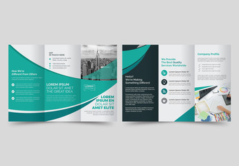 Trifold Brochure Layout with Blue and Green Accents