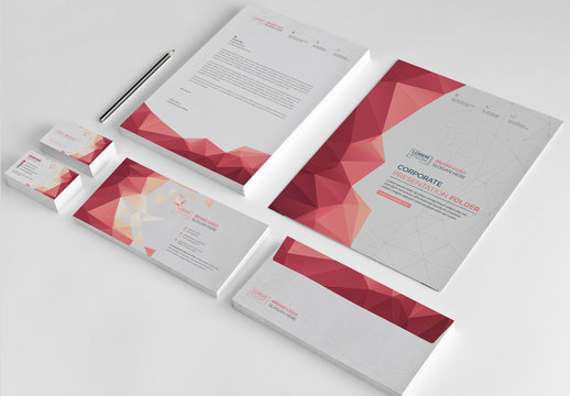 Stationery Set with Red Accents
