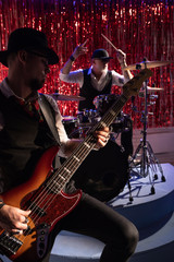 bass guitar and drums