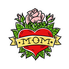 Colorful tattoo heart and flower with word Mom