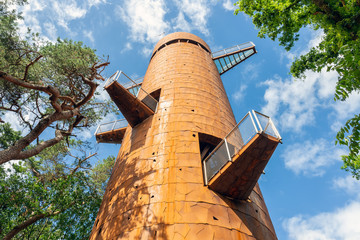 Watch tower in the forest of Appelscha, The Netherlands