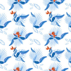 Seamless pattern of tropical  palm leaves, monstera  leaves  and coral flowers of the bird of paradise (Strelitzia) plumeria. Wallpaper trend design.
