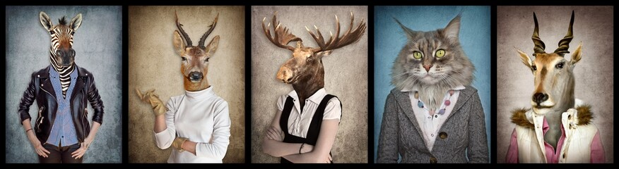 Animals in clothes. People with heads of animals. Concept graphic, photo manipulation for cover,...
