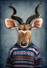 Antelope in clothes. Man with a head of an antelope. Concept graphic in vintage style with soft oil painting style
