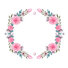 PInk Flowers Peony, Watercolor Wreath, Cotton. Isolated floral illustration