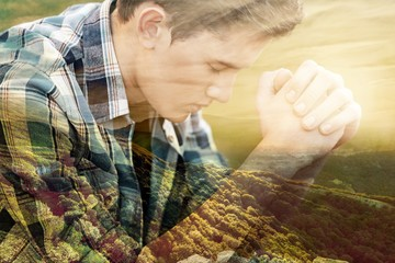 Portrait of Handsome Young man  praying