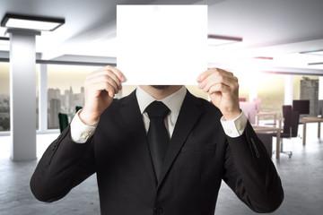 businessman in modern office hides face behind sign 3D Illustration