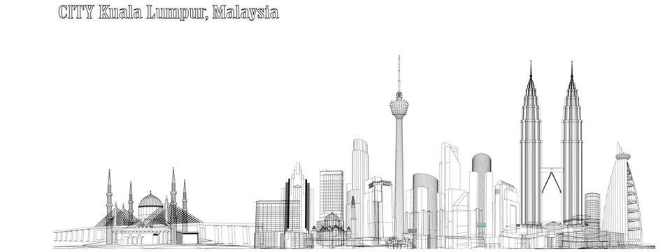 Vector City of Kuala Lumpur, Malaysia