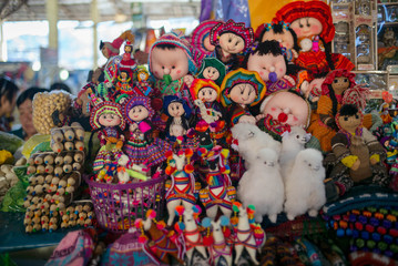 Peruvian fold dolls being sold in the market