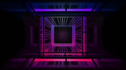 Light tunnel, metal construction, lights. Abstract neon background, blue and pink color. 3D Rendering