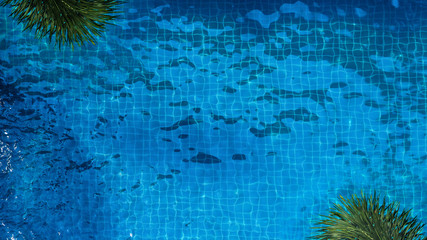 Top view or bird eye view images of swimming pool in summer season and sunny day which suitable for sport or relax on vacation time or chilling moment or workout for burn some calories in holiday.