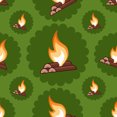 Fire seamless pattern. Decoration for greeting cards, posters, stripes, prints for clothes, emblems. EPS 10 vector graphics.